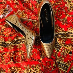 Liliana Gold Perforated Heels